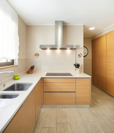 kitchen counter top: Interior of a modern apartment furnished, wide domestic kitchen