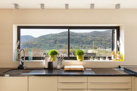 modern house, beautiful interiors detail of kitchen