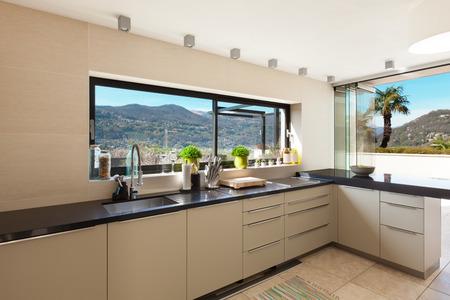 modern house beautiful interiors of domestic kitchen