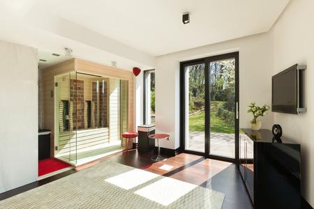 modern house interiors, room with sauna