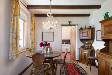 old furniture: interior of old house classic furniture, dining room view Stock Photo