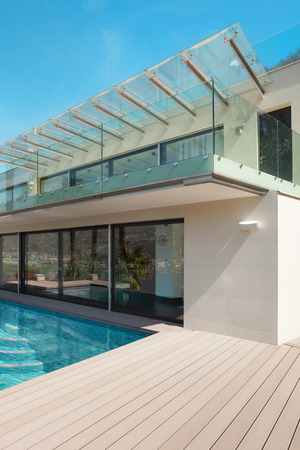 deck: modern house beautiful patio with pool, outdoor Stock Photo