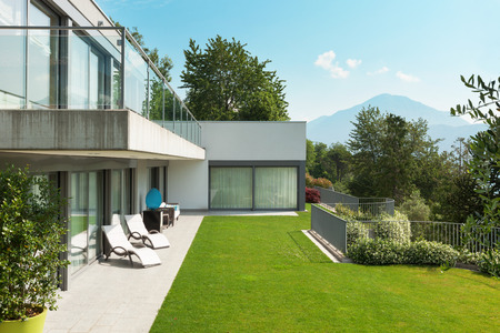 balcony: Architecture, modern white house with garden, outdoors