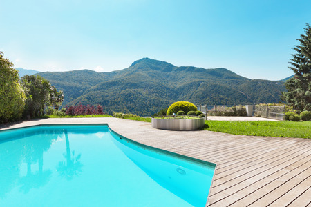 swimming pool home: Architecture, villa with swimming pool, outdoors