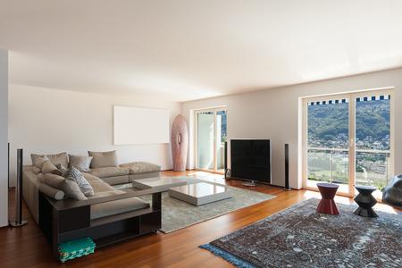 Interno di un appartamento, ampio soggiorno, pavimento in parquet