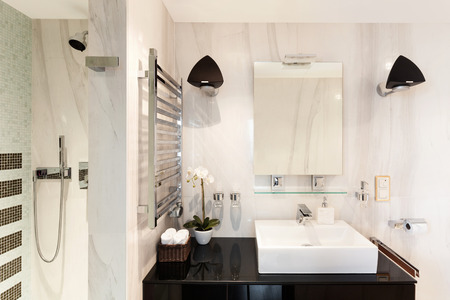 bathroom mirror: architecture, modern house, beautiful interiors, bathroom