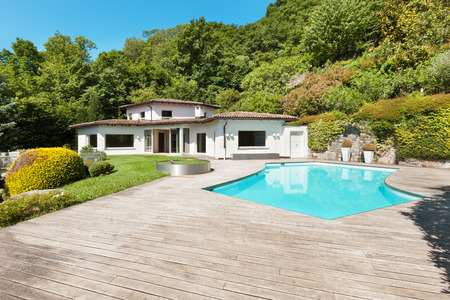 water  pool: Architecture, villa with swimming pool, outdoors