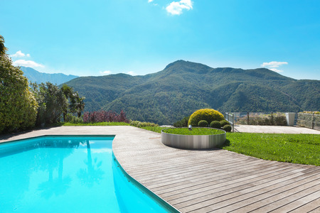 hardwood: Architecture, villa with swimming pool, outdoors