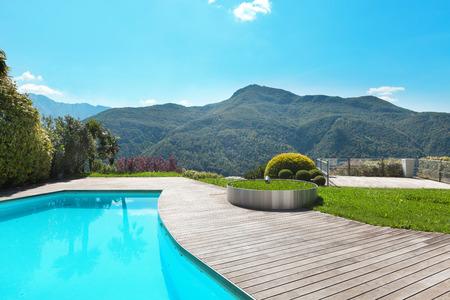 Architektur, Villa mit Pool, im Freien