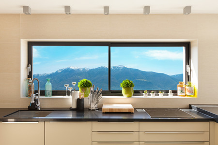 kitchen cabinet: modern house beautiful interiors, detail kitchen Stock Photo