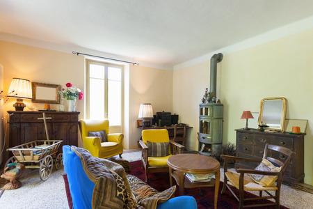 vintage furniture: nice living room of a rustic home, vintage furniture