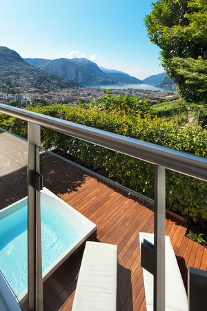 jacuzzi: panoramic view from a terrace with jacuzzi, summer day Stock Photo