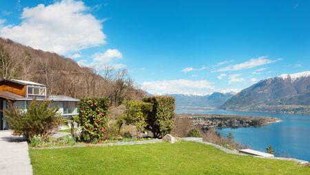 landscape garden: Swiss landscape: garden, mountains and lake