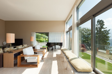 Interior of a modern apartment furnished, wide living room