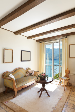 wood ceiling: interior of old house, classic furniture, nice living room