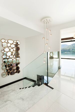 glass ceiling: architecture; modern house; staircase, marble floor