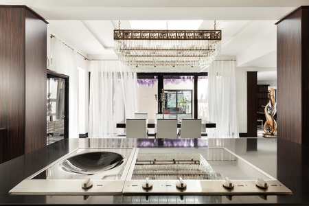 counter top: Modern architecture, beautiful kitchen of a luxury apartment Stock Photo