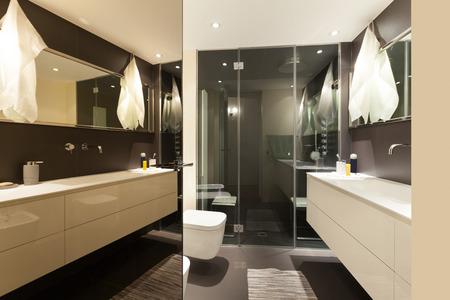 modern bathroom: modern apartment bathroom with shower