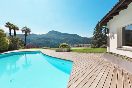 summer house: Architecture, villa with swimming pool, outdoors