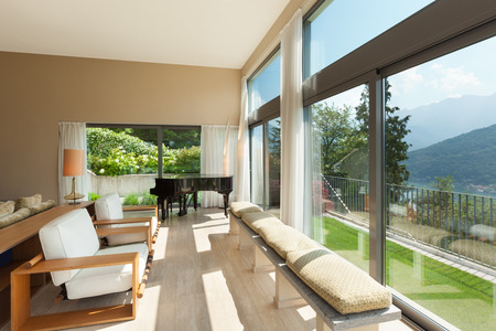 view of an elegant living room: Interior of a modern apartment furnished, wide living room