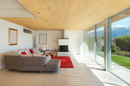 modern living room: mountain house, modern architecture, interior, living room