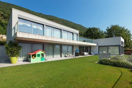 facade: Architecture, modern white house with garden, outdoors