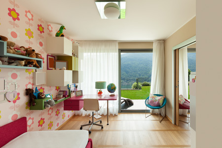 ceiling: Interior of apartment, children room with many toys