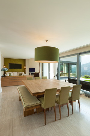 furnished: Interior of a modern apartment furnished, comfortable dining room Stock Photo