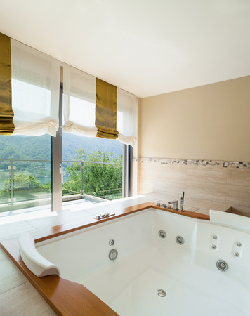 jacuzzi: Interior of  luxury apartment furnished, comfortable bathroom with jacuzzi
