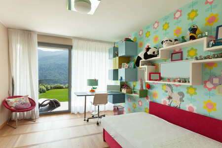room wallpaper: Interior of apartment, children room with many toys