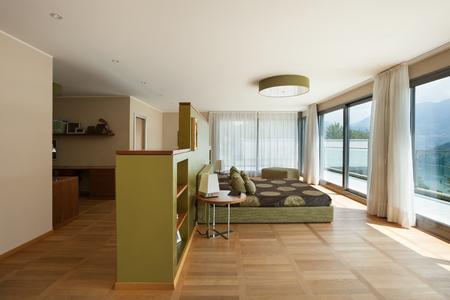 furnished: Interior of modern apartment furnished, comfortable bedroom