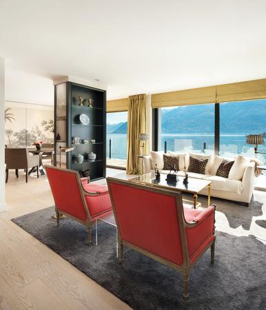 modern living: modern architecture, Interior, beautiful penthouse, living room