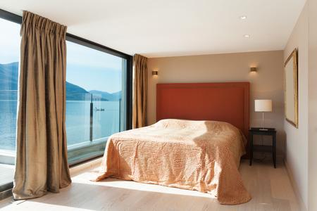 インテリア、美しいモダンなペントハウス、寝室