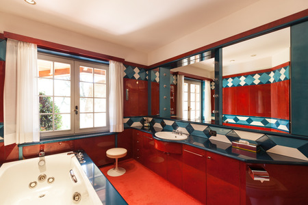 bathroom: Interior house, comfortable red bathroom