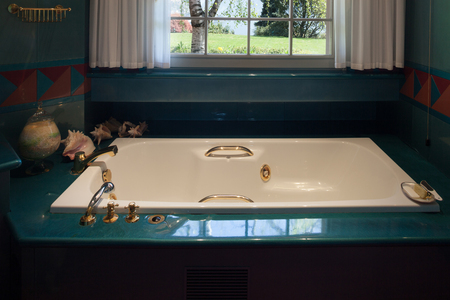 bathroom interior: Interior house, comfortable bathroom with bath