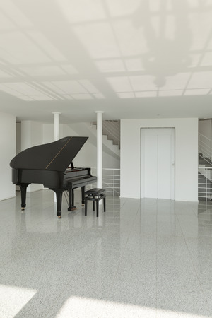 music hall: Architecture, wide hall with grand piano, interior