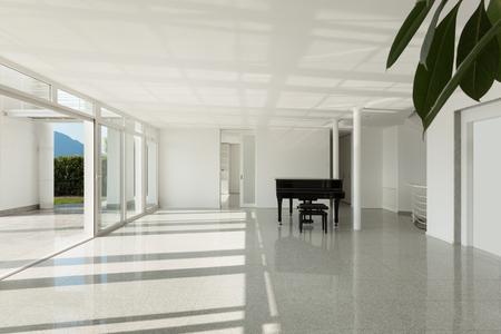 fortepian: Architektura, szeroki przedpokój z fortepianem, wnętrze