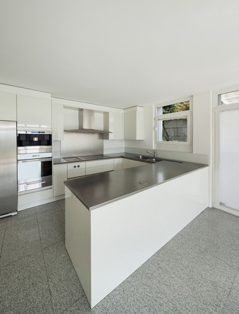 counter top: Architecture, interior of a modern house, white kitchen