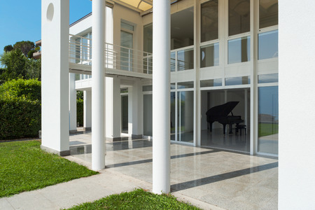 housing styles: Architecture, white modern villa, view from the garden