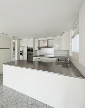 wide open spaces: Architecture, interior of a modern house, white kitchen