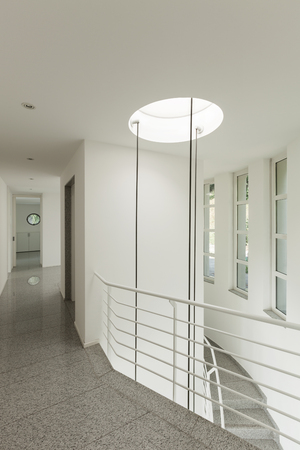 skylights: interior of a modern building, staircase view