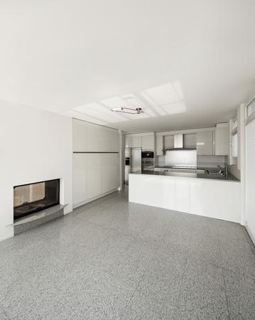 Architettura, Interno Di Una Casa Moderna, Cucina Bianca Foto ...