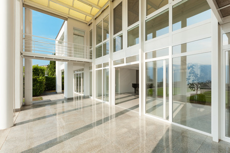 glass doors: Architecture, wide veranda of a modern house, exterior