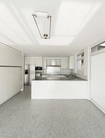 white kitchen: Architecture, interior of a modern house, white kitchen