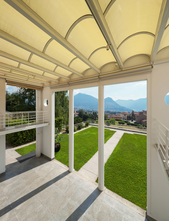Architecture Wide Veranda Of A Modern House Top View Stock Photo