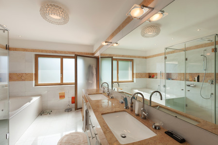 bathroom design: Interior of a modern apartment, domestic bathroom Stock Photo