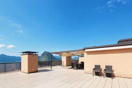 tiled: Architecture, wide empty terrace of a penthouse, sun day