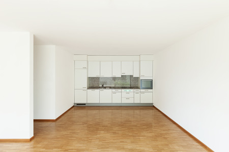 contemporary house: interior of an apartment, empty living room with kitchen, parquet floor Stock Photo
