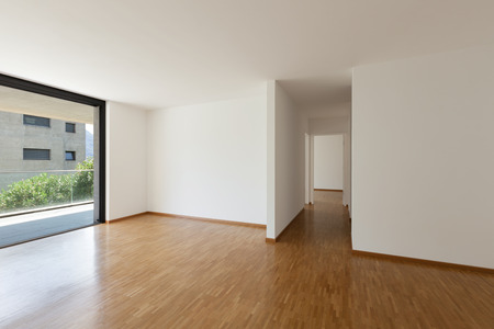 ventana abierta interior: interior of an apartment, empty living room with balcony, parquet floor