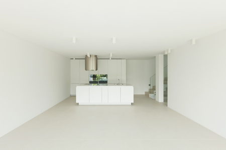 wide open spaces: Architecture, new trend design, domestic kitchen of a modern house Stock Photo